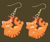 Huge ORANGE TABBY CAT EARRINGS - Funky Kitty Veterinarian Charm Jewelry