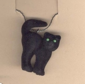 CAT FUZZY BLACK PENDANT NECKLACE-Gothic Witch Luck Charm Jewelry