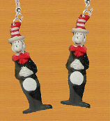 Funky Mini Figure CAT in the HAT EARRINGS - Naughty Dr Seuss Movie Book Full Body Naughty Kitty Character Novelty Costume Jewelry - Cute, detailed, hand painted dimensional resin miniature charm ornament. Whimsical mischievous Dr Suess feline charms.