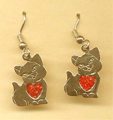 Cute CAT RED HEART EARRINGS - Pet Kitten Animal Charm Jewelry