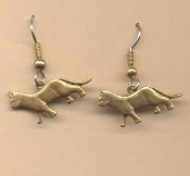 Cute Kitty CAT WALKING EARRINGS - Pet Kitten VET Charm Jewelry -GOLD