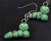 Huge Clay CATERPILLAR EARRINGS - Springtime Flower Garden Jewelry
