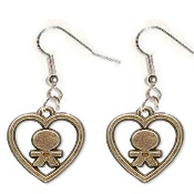 DOLL HEART EARRINGS - Antiqued Gold Petwer Metal Kid Love Charms Jewelry