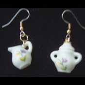 Funky CREAM and SUGAR EARRINGS - Ceramic China Costume Jewelry Mismatched Pair - Miniature dimensional SUGAR BOWL and CREAMER Set. Genuine mini dollhouse toy Tea Party novelty charm. Great gift for a sweet friend. One lump or two?