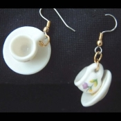 CUP & SAUCER EARRINGS - Drink Mug Coffee TEA Jewelry - CERAMIC