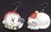 CHRISTMAS KITTY CAT RESIN EARRINGS - Pet Xmas Kitten Veterinarian Jewelry - Resin Feline