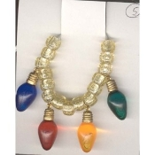 Christmas LIGHT BULBS NECKLACE-Holiday Charm Jewelry 4-Color-1""