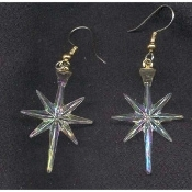Christmas NORTH STAR EARRINGS - Winter Ski - Astronomy Gift Jewelry - IRRIDESCENT