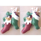 Christmas STOCKING with Toys VICTORIAN -style BUTTON EARRINGS - Hand Painted Xmas Crafts Gift Jewelry