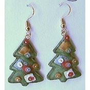 Christmas TREE EARRINGS - COUNTRY PATCHWORK QUILT Gift Jewelry