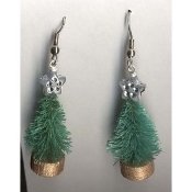 Christmas TREE EARRINGS - Vintage SISAL Gift Jewelry -1-1/4""