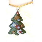 Christmas TREE PENDANT NECKLACE-Country Patchwork Quilt Jewelry