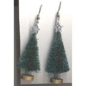 "Christmas TREE SISAL EARRINGS - Gift Jewelry - Vintage - 2"" -A"
