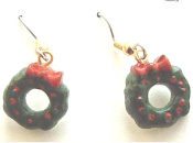 Cute Christmas WREATH EARRINGS with Red Bow & Holly Berries - Mini 3-d Holiday Ornament Charm Jewelry