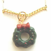 Christmas WREATH PENDANT NECKLACE-Mini 3d Holiday Charm Jewelry