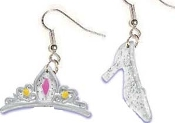 TIARA & GLASS SLIPPER EARRINGS - Big Funky Diva Attitude Cinderella Princess Charm Jewelry