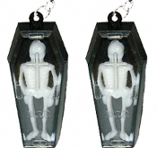 Vintage Gothic Vampire SKELETON in COFFIN EARRINGS - Halloween Dracula Casket Toy Jewelry