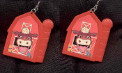 COW RED BARN EARRINGS - HUGE Country Dairy Farm Animal Farmer Jewelry