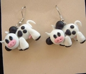 Mini Mad COWS EARRINGS - Dairy Farm Animal Moo Milk Clay Jewelry
