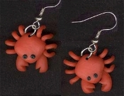 Mini CRABBY CRAB EARRINGS - Cute Clay Crustacean Ocean Jewelry