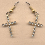 Beautiful Rhinestone Crystal CROSS EARRINGS - Christian WWJD Confirmation, Quinceanera or First Holy Communion Gift Jewelry.