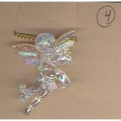 Huge Funky CUPID CHERUB PLAYING FLUTE PENDANT NECKLACE - Big Seasonal Spiritual Holiday Heavenly Baby ANGEL Music Teacher Musician Novelty Costume Jewelry - Large Acrylic Crystal Plastic Iridescent Aurora Borealis Musical Theme Charm Mini Figure