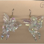 Huge Funky CUPID CHERUB PLAYING MANDOLIN GUITAR EARRINGS - Big Seasonal Spiritual Holiday Heavenly Baby ANGEL Music Teacher Musician Novelty Costume Jewelry - Large Acrylic Crystal Plastic Iridescent Aurora Borealis Musical Theme Charm Mini Figure