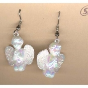 CUPID CHERUB EARRINGS - Baby ANGEL Love Charm Jewelry - PRAYING - Iridescent White Faux Pearl Acrylic Plastic Charm, approx. 1-inch (2.5cm) diameter.