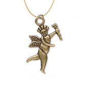 CUPID PENDANT NECKLACE-Angel w-Arrow Gold Charm Funky Jewelry