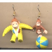 CURIOUS GEORGE EARRINGS - Book Monkey Chimp Ape Cartoon TV Jewelry