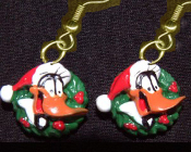 Funky Mini DAFFY DUCK SANTA CAP EARRINGS Christmas Wreath Holiday Novelty Costume Jewelry - Miniature Luney Toons Xmas button dangle ornament