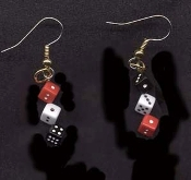 Tiny Lucky DICE EARRINGS - Red Black White - SMALL Craps Casino Charm Jewelry