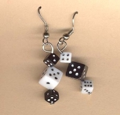 DICE EARRINGS - Lucky Pair - Casino Las Vegas Luck Charm Jewelry - BLACK/WHITE Acrylic Charm