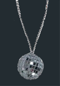 Genuine Glass Mini DISCO BALL PENDANT NECKLACE - Huge Novelty Dance Club Retro DJ Jewelry - BIG Funky realistic, silver mirrored sphere charm, approx. 2-inch (5cm) diameter, on 30-inch Plastic Ballchain.
