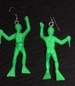 DIVER - SCUBA - HUGE TOY EARRINGS - Green Hunting Knife - Great swimmer or snorkler gift!