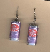 DR PEPPER CANS EARRINGS - Soda Pop Restaurant Waiter Waitress Drink Charm Jewelry