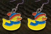 DUCKY HAT SCARF EARRINGS - Cute Christmas Winter Costume Party Charm Jewelry