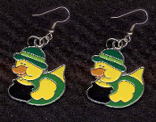 DUCKY LEPRECHAUN POT-O-GOLD DERBY EARRINGS - Cute St Patricks Day Costume Party Shamrock Charm Jewelry