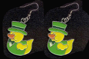 DUCKY LEPRECHAUN with TOP HAT EARRINGS - Cute St Patricks Day Costume Party Shamrock Charm Jewelry -LT