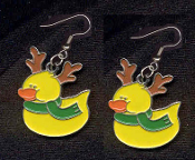 DUCKY RUDOLPH REINDEER EARRINGS - Cute Christmas Winter Costume Party Charm Jewelry
