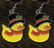 DUCKY SCROOGE CRATCHIT EARRINGS - Cute Christmas Winter Costume Party Charm Jewelry