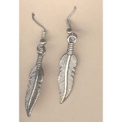 FEATHER EARRINGS - Native-American Bird Jewelry - Antique finished pewter-look SILVER-tone - Lg