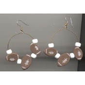 "FOOTBALL 2"" HOOP EARRINGS - Coach Referee NFL Team Jersey Costume Jewelry"
