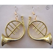 Large Gold-tone FRENCH HORN EARRINGS - Musical Instrument Jewelry