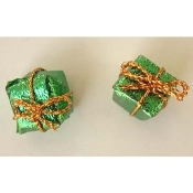 Tiny 3-d GIFT PACKAGE BUTTON EARRINGS - Christmas or Anniversary St. Patrick's Day Jewelry - GREEN