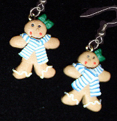 Funky GINGERBREAD GIRL SCARF EARRINGS - Christmas Cookie Dessert Jewelry