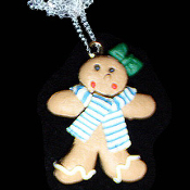 GINGERBREAD GIRL NECKLACE-SCARF-Holiday Cookies Fun Food Jewelry