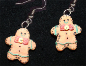 Funky GINGERBREAD MAN EARRINGS - Two-Faced Resin Christmas Cookie Dessert Jewelry