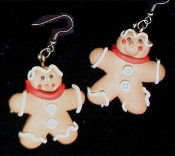 Funky GINGERBREAD MAN REDNECK EARRINGS - Christmas Cookie Dessert Jewelry