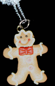 GINGERBREAD MAN NECKLACE-BOW TIE-Holiday Cookie Fun Food Jewelry